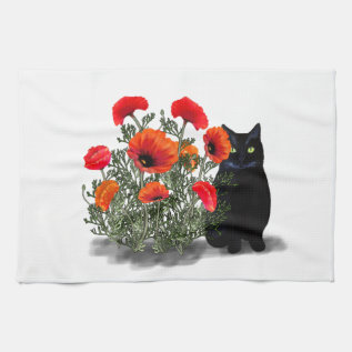 Black Cat with Poppies Towel at Zazzle