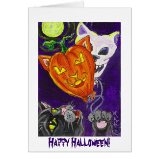 Black Cat with Pumpkin Cat and Skull Balloons Card