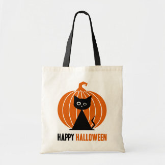 Black Cat with Pumpkin Tote Bag