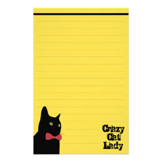 Black Cat with Red Bow Tie - Crazy Cat Lady Stationery