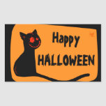 Black cat with red eyes Halloween sticker