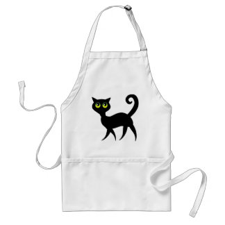 Black cat with spooky green eyes adult apron