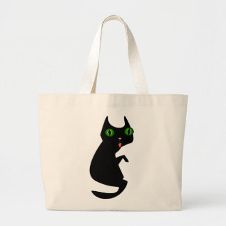 Black Cat with Spooky, Green Eyes Large Tote Bag