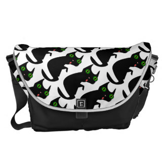 Black Cat with Spooky, Green Eyes Messenger Bag