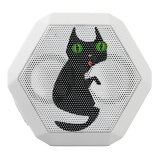 Black Cat with Spooky, Green Eyes White Bluetooth Speaker
