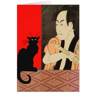 Black CAt With Sumrai Greeting Card