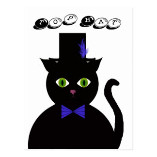Black Cat with Top Hat Cat Blue Bow  Postcard