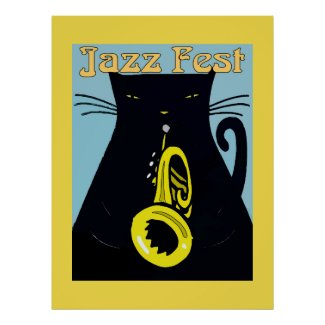 Black Cat with Trumpet Poster