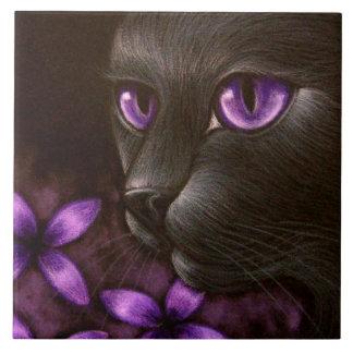 BLACK CAT with VIOLET FLOWERS TILE
