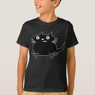 Black Cat with white line skateboarding t-shirt
