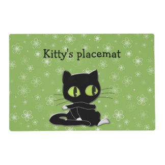 black cat with white socks placemat