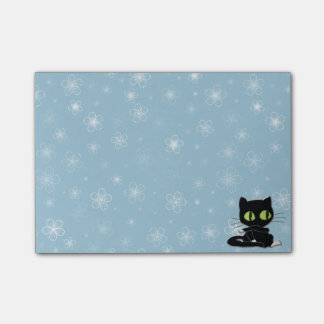black cat with white socks post-it notes