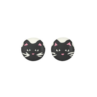 BLACK CAT With White Whiskers And Pink Ears Earrings