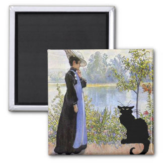 Black Cat With Woman 2 Inch Square Magnet