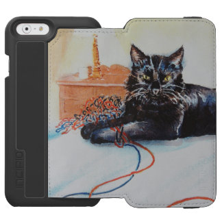 Black Cat with Yarn iPhone 6/6s Wallet Case