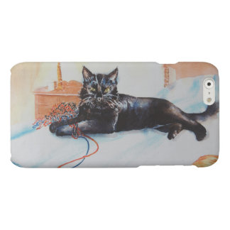 Black Cat with Yarn Matte iPhone 6 Case