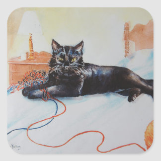 Black Cat with Yarn Square Sticker
