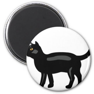 Black Cat with Yellow Eyes 2 Inch Round Magnet