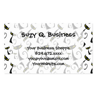Black Cat with Yellow Eyes Halloween Pattern Business Card