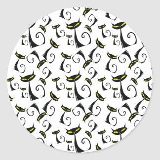 Black Cat with Yellow Eyes Halloween Pattern Classic Round Sticker