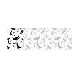 Black Cat with Yellow Eyes Halloween Pattern Label