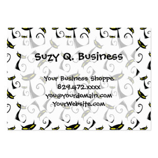 Black Cat with Yellow Eyes Halloween Pattern Large Business Card