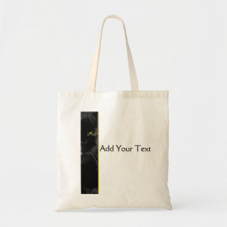 Black Cat with Yellow Eyes Illustration Tote Bag