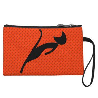 black cat wristlet wallet