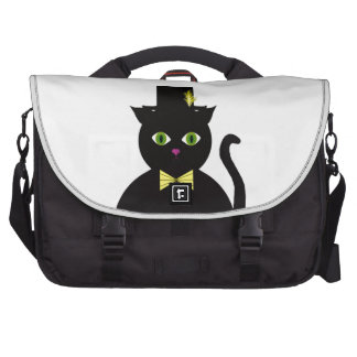 Black Cat wTopHat Yellow Bow Laptop Bags