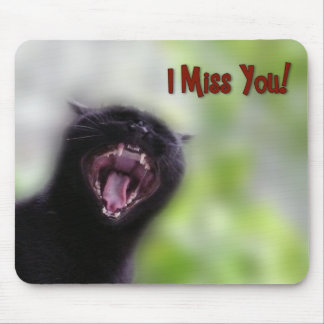 Black Cat Yawning Mouse Pad