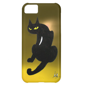 BLACK CAT yellow Cover For iPhone 5C