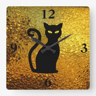 Black Cat Yellow Glass Texture Modern Cat Eyes Square Wall Clock