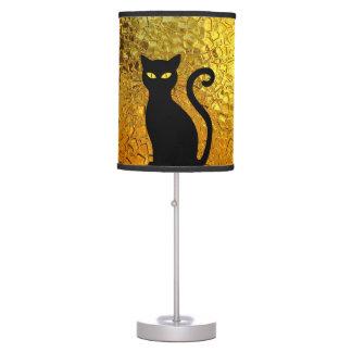 Black Cat Yellow Glass Texture Modern Cat Eyes Table Lamp