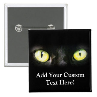 Black Cat, Yellow Green Eyes, Sleek and Spooky 2 Inch Square Button