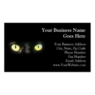 Black Cat, Yellow Green Eyes, Sleek and Spooky Double-Sided Standard Business Cards (Pack Of 100)