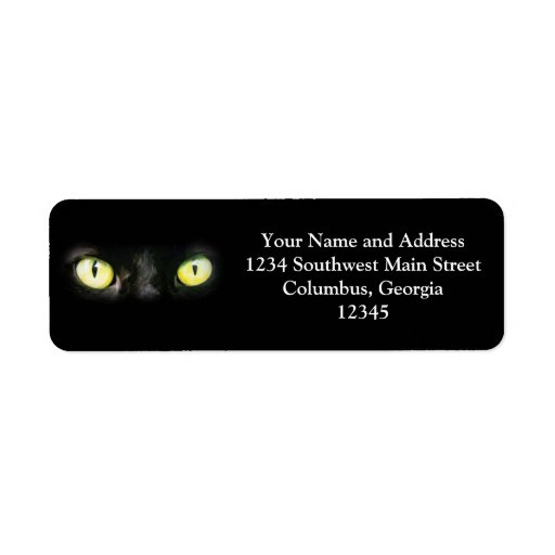 Black Cat, Yellow Green Eyes, Sleek and Spooky Label
