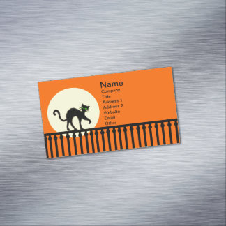 Black Cat Yellow Moon Fence Magnetic Business Card