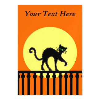 Black Cat Yellow Moon Fence Magnetic Card