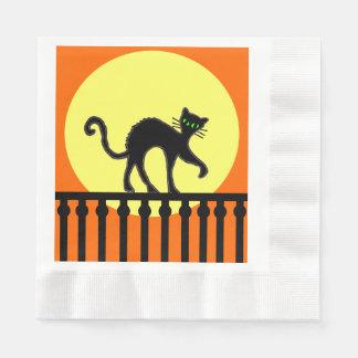 Black Cat Yellow Moon Fence Paper Napkin