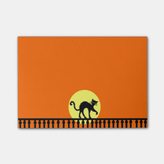 Black Cat Yellow Moon Fence Post-it® Notes