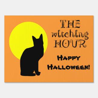 Black Cat Yellow Moon Halloween Lawn Sign