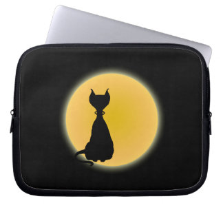 Black Cat Yellow Moon Laptop Sleeve