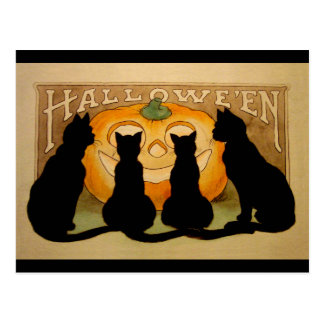 Black Cats and a Jack O Lantern Post Cards