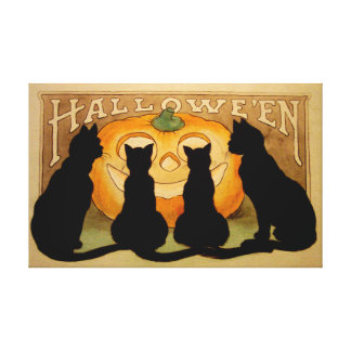 Black Cats and a Jack O'Lantern Gallery Wrapped Canvas