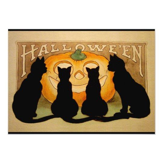 Black Cats and a Jack O'Lantern Card