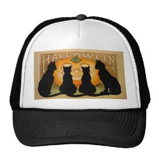 Black Cats and a Jack O'Lantern Mesh Hats