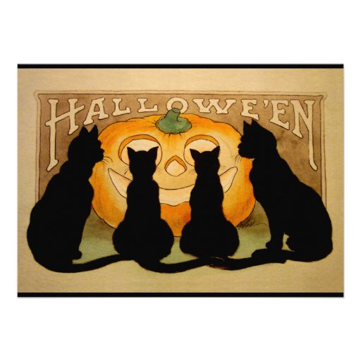 Black Cats and a Jack O'Lantern Personalized Invite