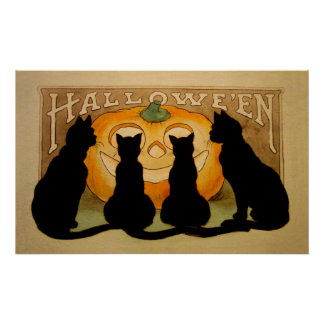 Black Cats and a Jack O'Lantern Poster