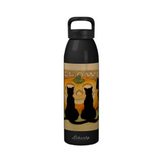 Black Cats and a Jack O'Lantern Reusable Water Bottles