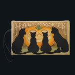"Black Cats and a Jack O&#39;Lantern Wristlet Purse<br><div class=""desc"">A beautiful vintage Halloween bagette bag featuring featuring four black cats in front of a Jack O&#39;Lantern.</div>"